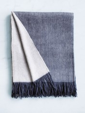 wool and cashmere throw - ink eggshell