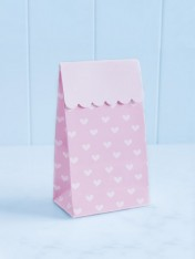 party treat boxes – pink with white hearts