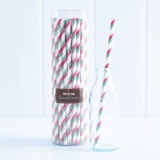 paper straws – striped green and red - pack of 50