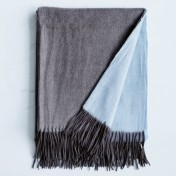 wool and cashmere throw - charcoal blue