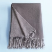 wool and cashmere throw - mink stone