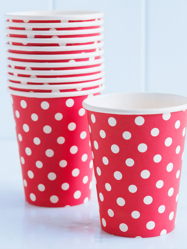 paper cups – polka dot red