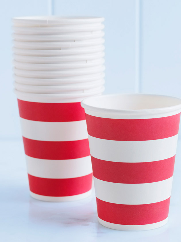 paper cups – striped red