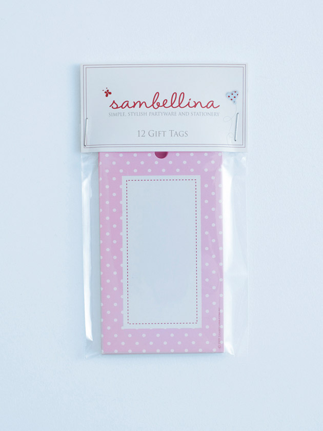 polka dot gift tags – pink