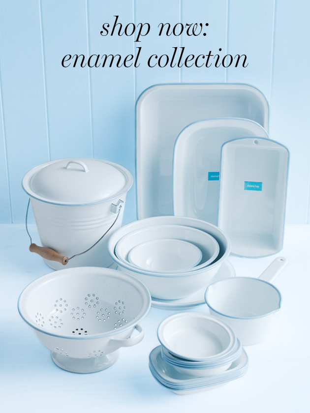 ENAMELWARE COOL AND CLASSIC, OUR ESSENTIAL ENAMELWARE RANGE IN CLASSIC WHITE AND BLUE IS AVAILABLE NOW