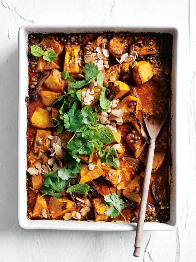 EASY WEEKNIGHT DINNER ONE TRAY ROASTED PUMPKIN AND LENTIL KORMA CURRY FROM OUR NEW FAST ISSUE