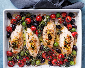 tray-baked chicken with tomato and olives video
